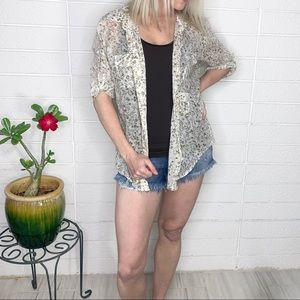 Anthropologie Fei Brown Beige Floral Button Down
